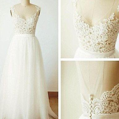 Lovely Lace and Tulle A-line Simple..