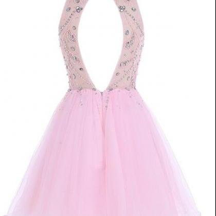 Baby Pink Crystal Beaded Tulle Open..