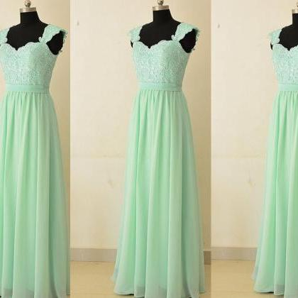 Mint Green Chiffon and Lace Bridesm..