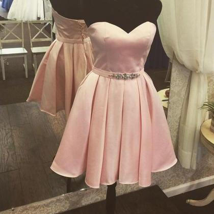 Adorable Pink Short Satin Homecomin..