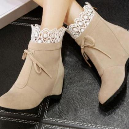 Cute Women Boots with Lace Detail, ..