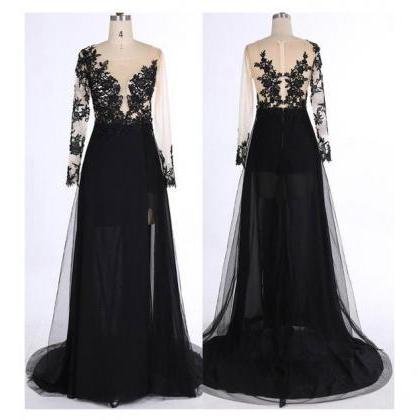 Black Long Sleeves Prom Dress,See-t..