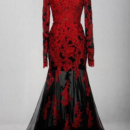 Red and Black Lace Long Sleeves Lon..