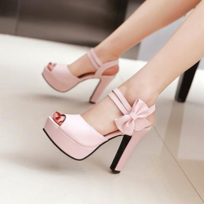 Pink Cute High Heels With Bow, Love Teen Girls Shoes ...