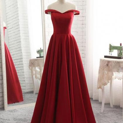 Popular Red Satin A-line Prom Gown,..