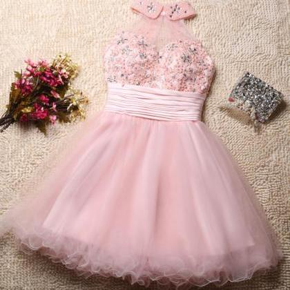 Lovely Pink Tulle Homecoming Dresse..