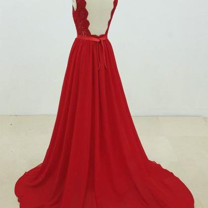 Red Chiffon Party Dress with Appliq..
