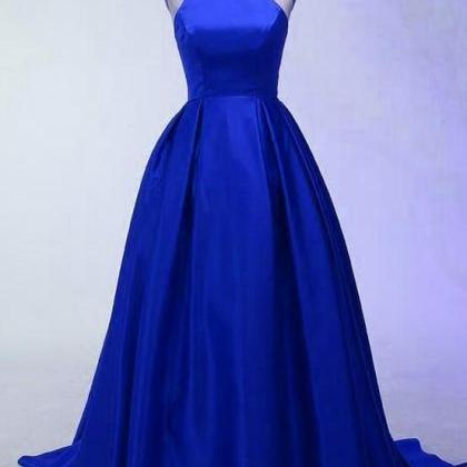 Royal Blue Halter Long Satin Party ..
