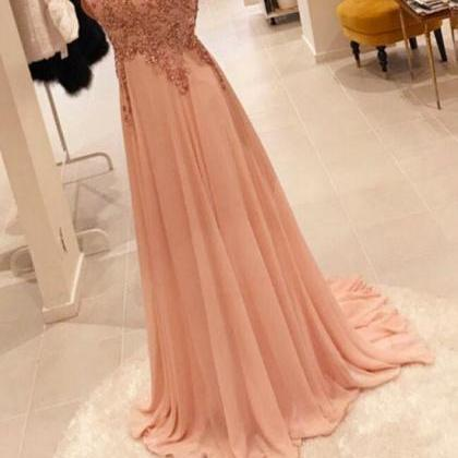 Light Pink Chiffon with Sequins Lon..