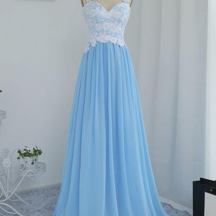 Blue Chiffon and Lace Long Party Dr..