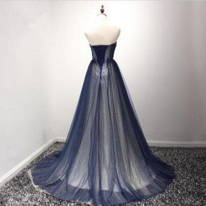 Navy Blue Tulle Party Gowns, Blue P..