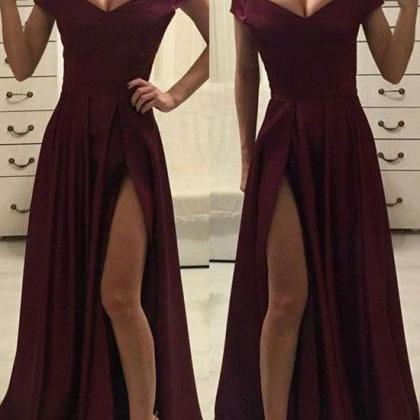 Sexy Off Shoulder Satin Slit Long P..
