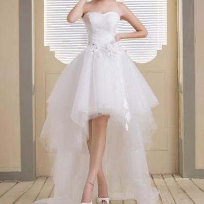 Cute White Tulle Sweetheart High Lo..