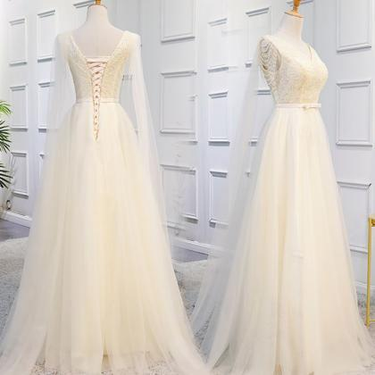 Champagne Long Tulle Formal Gowns, ..