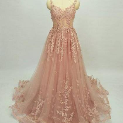 Beautiful Long Pink Lace Applique P..