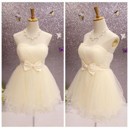 Cute Champagne Short Tulle Sweethea..