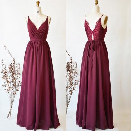Wine Red Chiffon and Lace Bridesmai..