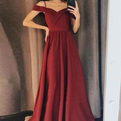 Lovely Wine Red Off Shoulder Prom D..