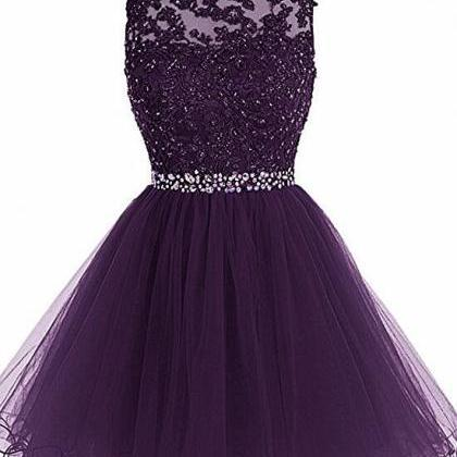 Purple Lovely Tulle Round Neckline ..