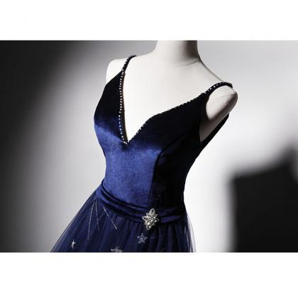 Beautiful Navy Blue Straps Velvet a..