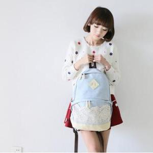 Pretty Denim Backpack Bag with Lac..