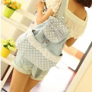 Pretty Backpack with Bow and Lace, ..