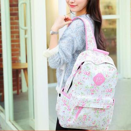 Sweet Floral Print Backpack, Backpa..