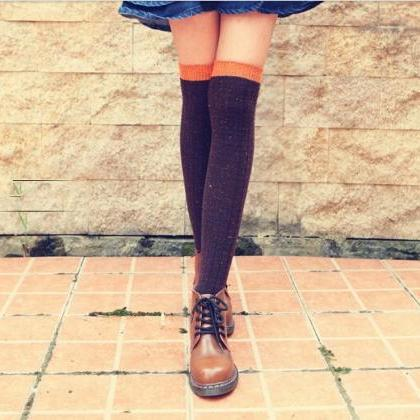 Long Wool Knit Chic Socks, Warm Soc..
