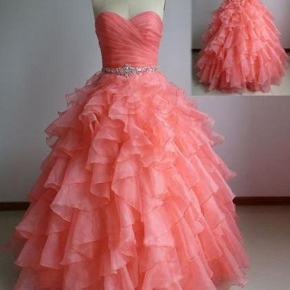 Beautiful Coral Ball Gown Sweethear..