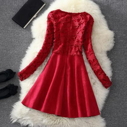 59da049968ad Cute Lace Long Sleeve Winter Formal Dresses With Bow, Women Winter ...