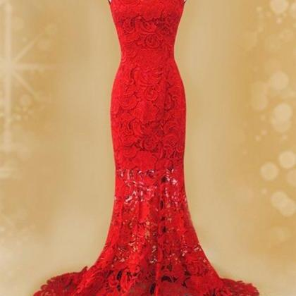 Pretty Red Lace Mermaid Party Gowns..
