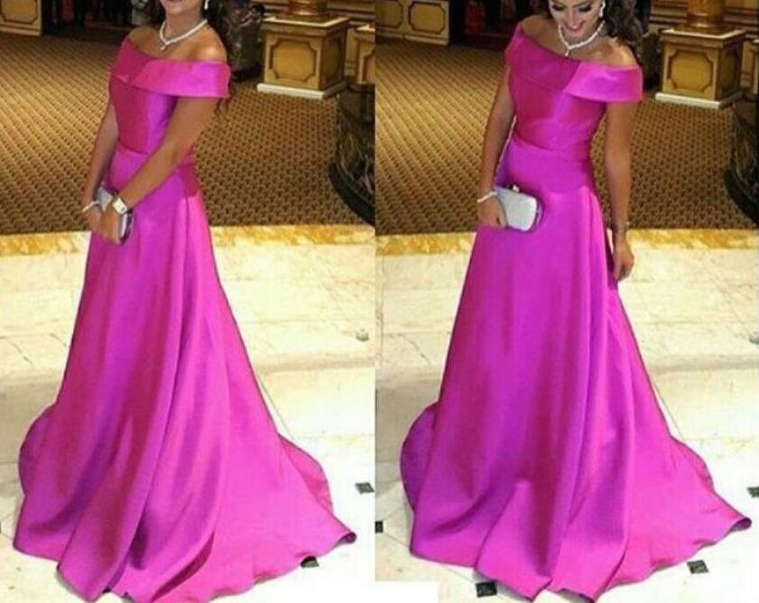 Gorgeous Satin Rose-Red Off Shoulder Long Evening Gowns, Long Prom ...