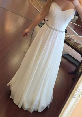 Beautiful Simple White Chiffon Sweetheart Beaded Floor Length Party Dresses, White Simple Formal Dresses, Formal Gowns