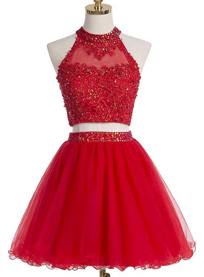 Red Two-Piece Homecoming Dress Featuring Beaded Embellished High Halter  Crop Top with Keyhole Back fa9896ca9