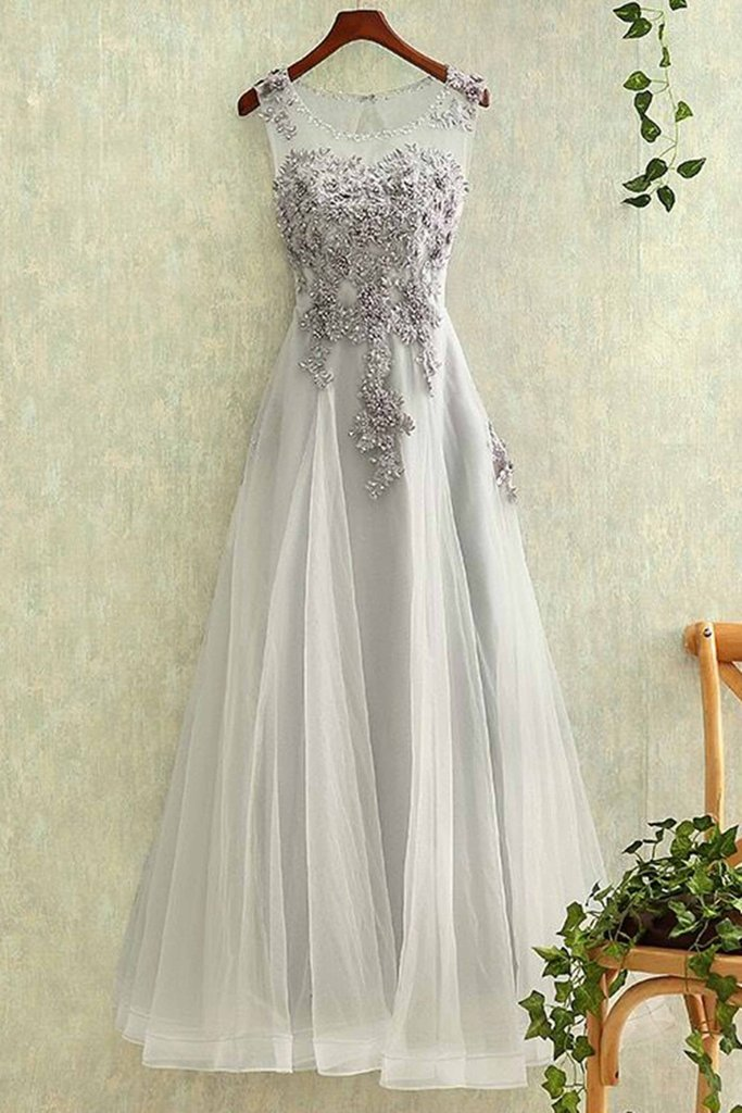 Charming Light Grey Long Prom Dresses Elegant Tulle And Lace Party