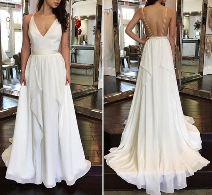 White Chiffon Plunge V Spaghetti Straps Floor Length Ruffled A-Line Formal Dress Featuring Open Back, Prom Dress