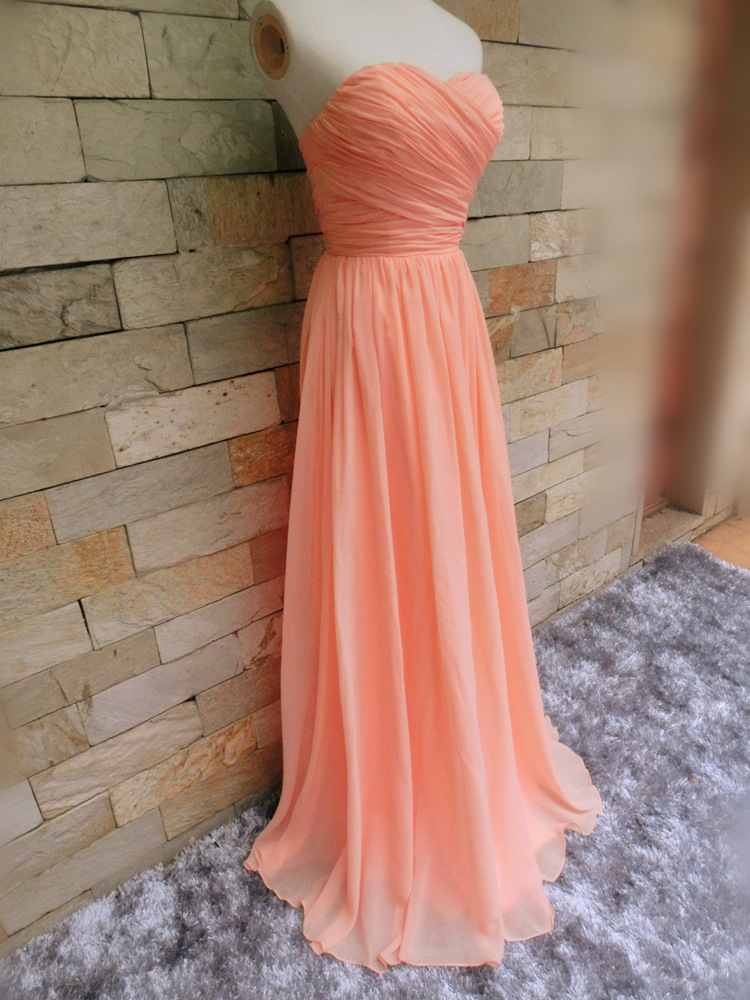Chiffon Sweetheart Simple Long Soft Pink Prom Dresses Floor Length