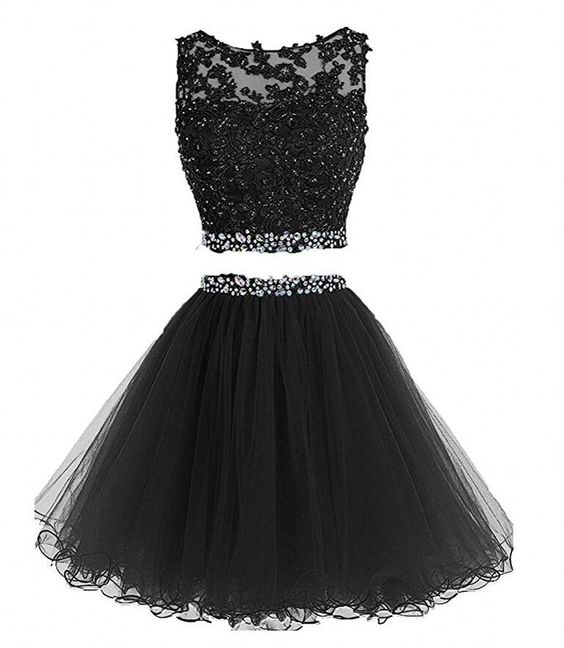 Black Two Piece Knee Length Cute Homecoming Dresses, Homecoming ...