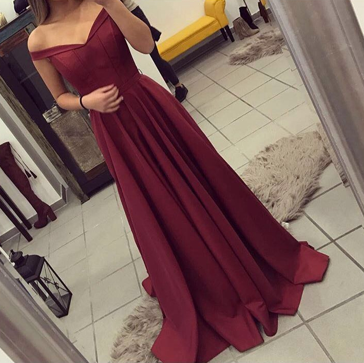4bc6d6d3a4 Beautiful Burgundy Off Shoulder Prom Dress 2018