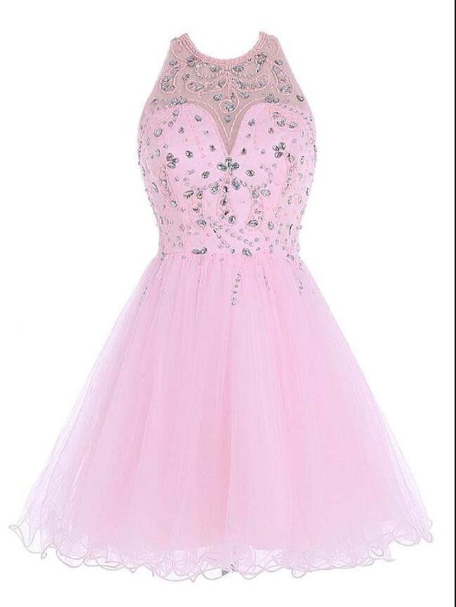 Baby Pink Crystal Beaded Tulle Open Back Homecoming Dress