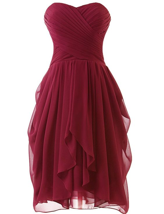 Burgundy Short Bridesmaid Dresses, Dark Red Prom Dresses, Sweetheart Formal Dresses
