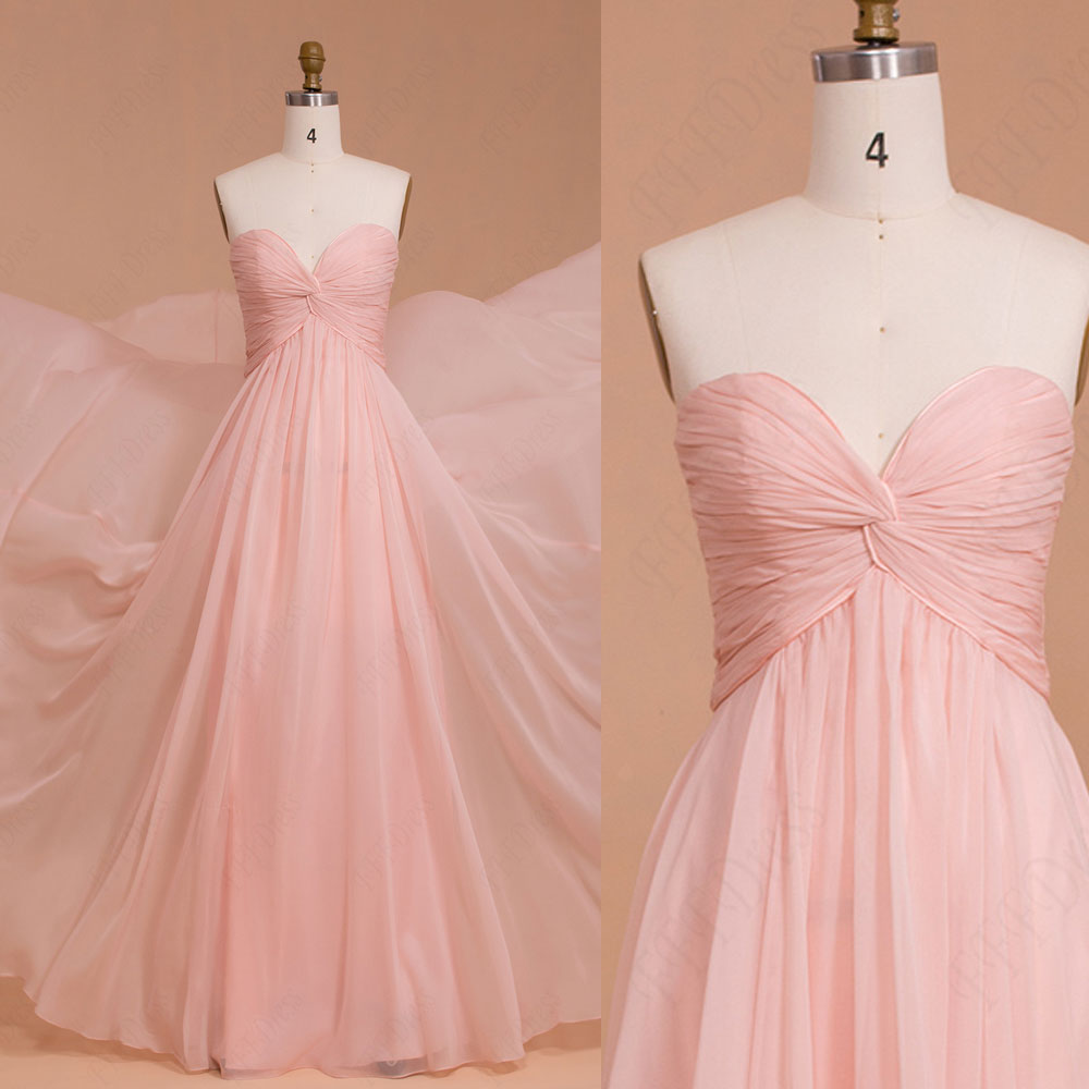 Soft Pink 30 D Chiffon Bridesmaid Dress, Sweetheart A Line With ...