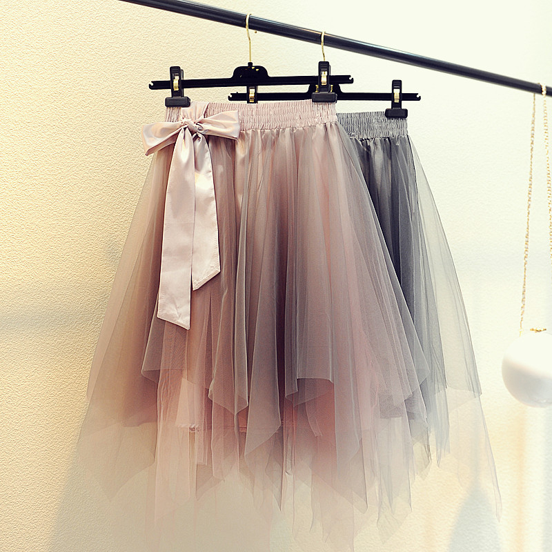 Lovely Gradient High Low Short Tulle Skirt with Bow, Tutu Skirts, Cute Tulle Skirts for Teens