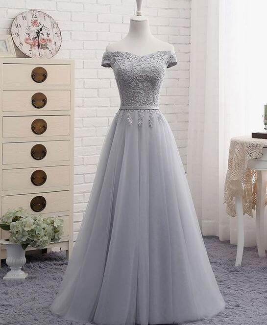 Grey Gowns Wedding: Simple Grey Bridesmaid Dresses, Tulle Bridesmaid Dresses