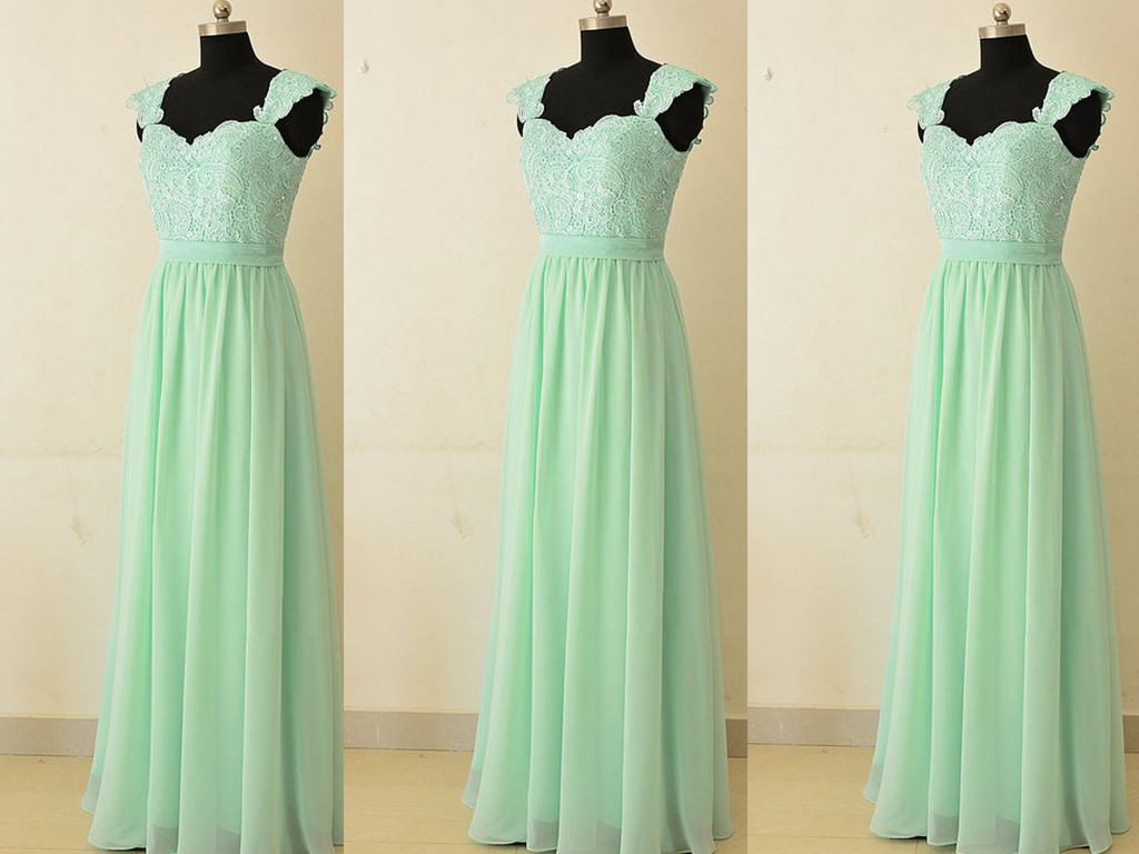 Mint Green Chiffon and Lace Bridesmaid Dresses, Simple Bridesmaid Dresses, Mint Green Prom Dresses
