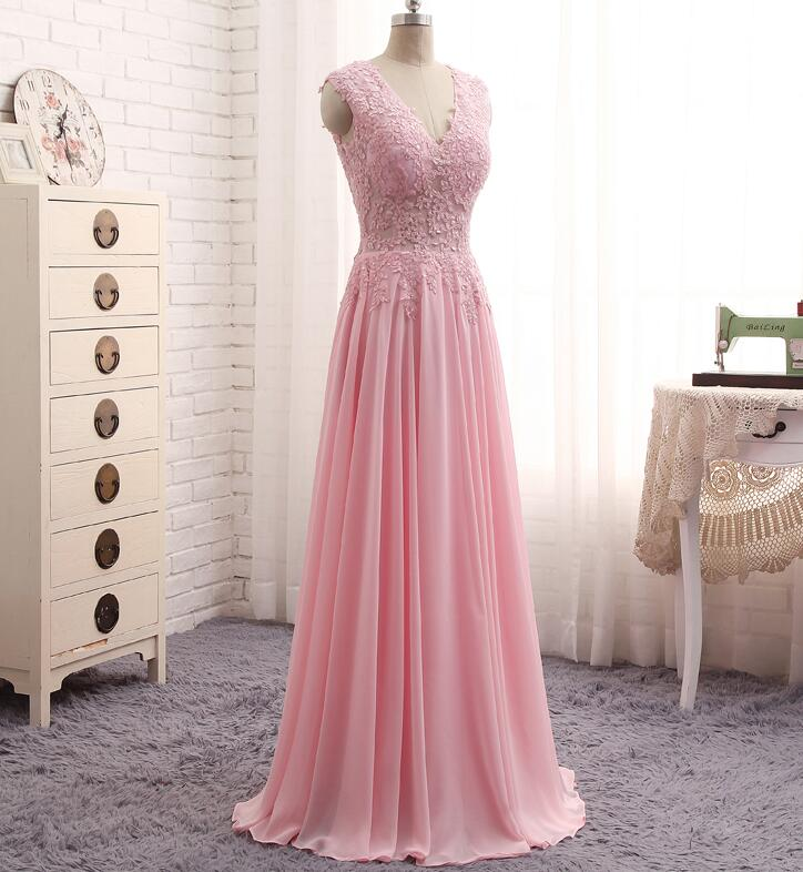 Pink Long Chiffon Party Dresses, Pink Prom Dresses, Simple Prom ...
