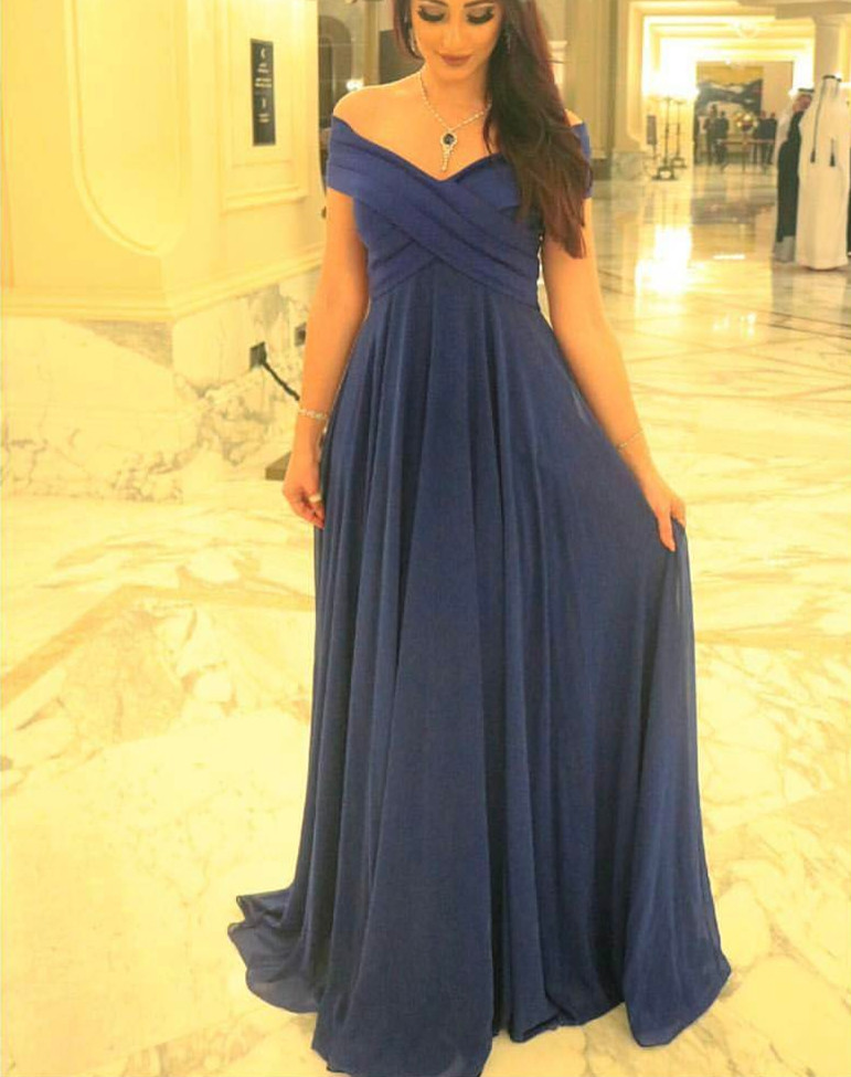 b95e1b7d3e29 Pretty Navy Blue Chiffon Off Shoulder Long Prom Dresses