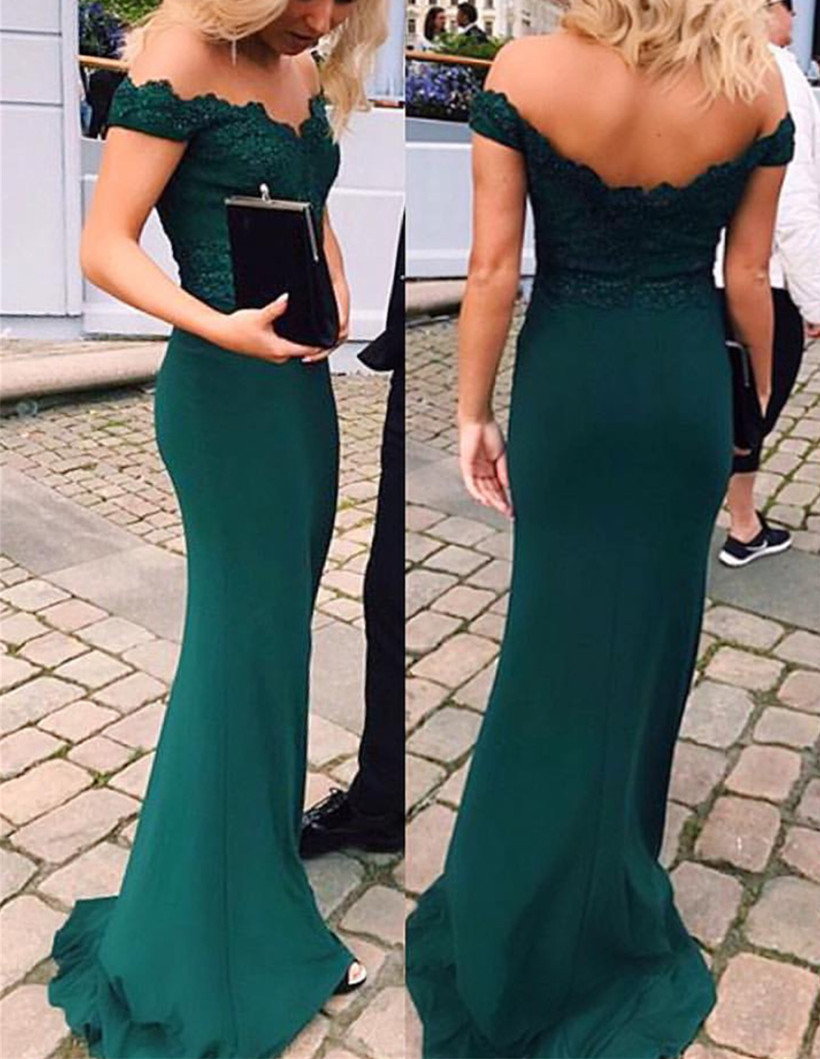 Off Shoulder Emerald Green Prom Dress 38ad748088