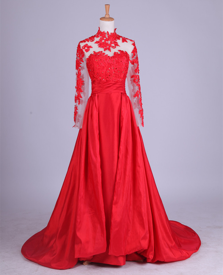 Beautiful Red Long Sleeves Floor Length Party Dresses, Red Formal ...