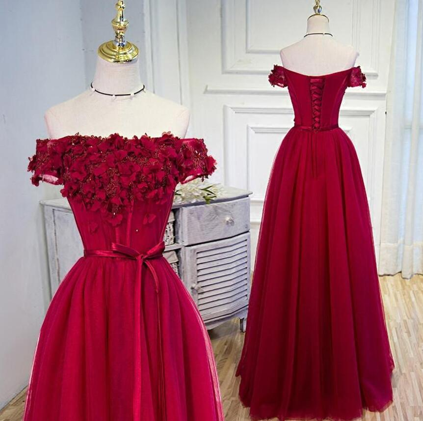 Off Shoulder Wine Red Floral Tulle Gowns, Formal Dresses With Lace ...